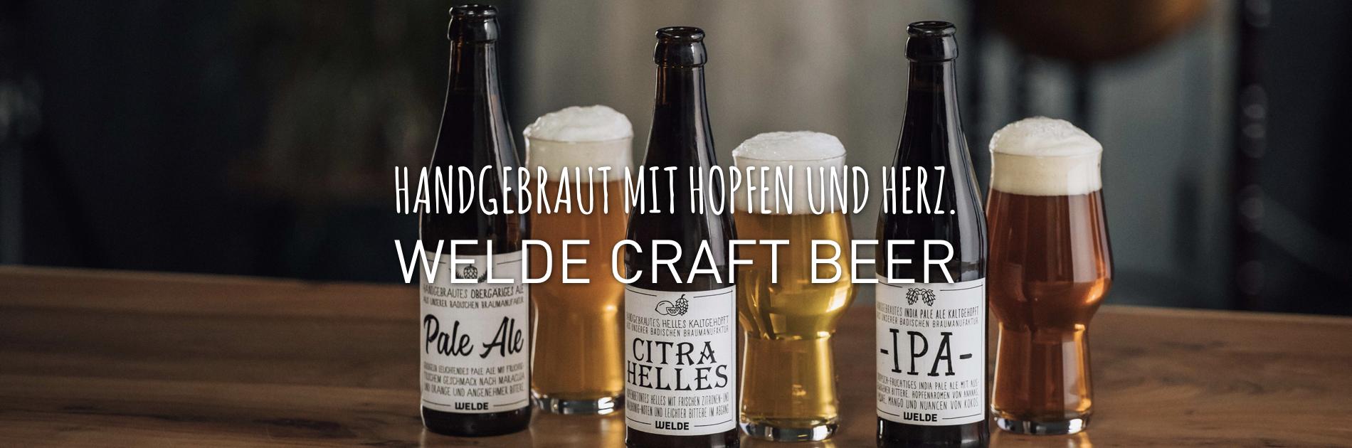 WELDE Craft Beer Sorten in Gläsern und Flasch